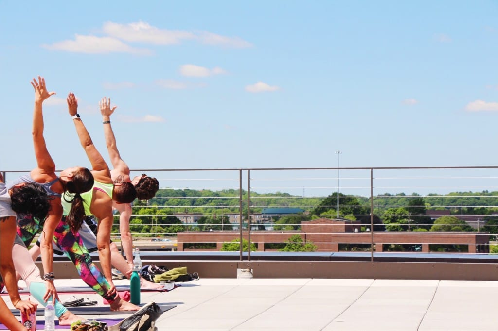 Lunchtime rooftop yoga funky buddha